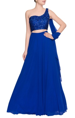 Blue sequin one-shoulder gown