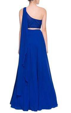 blue sequin one-shoulder gown