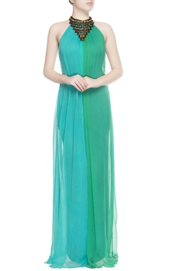 Turquoise blue & green gown