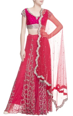 Pink lehenga with sequin embroidery