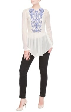 White bead work peplum top