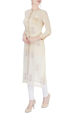 Beige long kurta with gold border