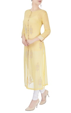 Yellow long kurta with gold border