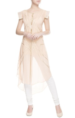 Pastel pink kurta with gold border