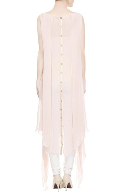 Pastel pink asymmetric kurta with gold border