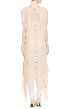 Peach asymmetric kurta with gold border
