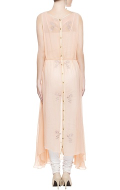 Peach embroidered kurta with drawstrings