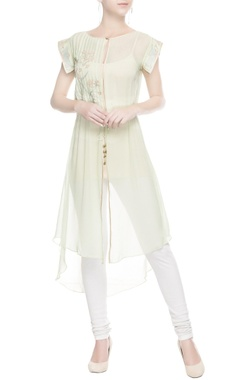 Pastel green embroidered kurta with drawstrings