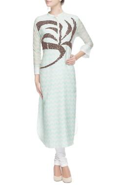 White & blue floral sequin kurta