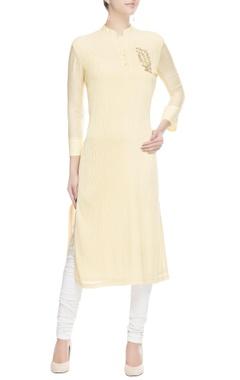 Light yellow embellished kurta