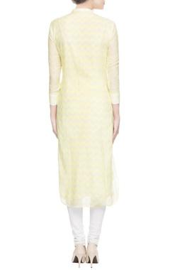 Yellow printed & embellished kurta