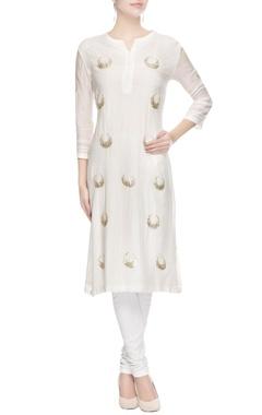 White embellished long kurta