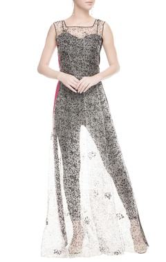White sheer dress in dotted pattern