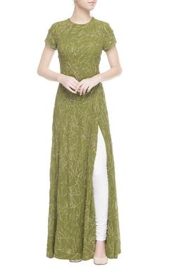 Green gold print tunic