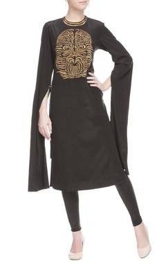 Black tunic in gold print