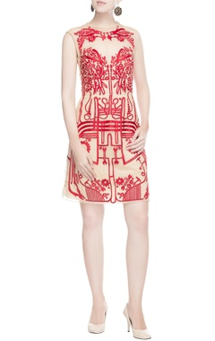 Light beige dress with red print
