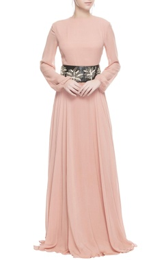 Pink gown with black leather waistband