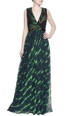 Black & green sequin gown