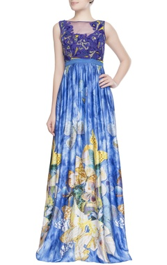 Blue gown in peacock motifs
