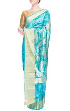 Blue sari in silver pattern work