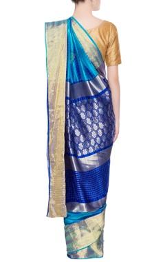 Blue gold print sari