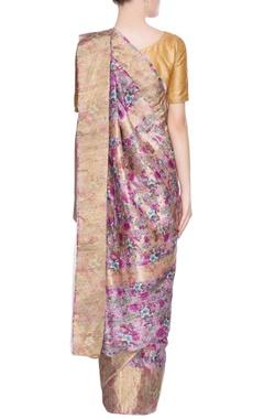 Purple gold print sari