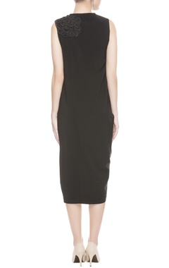 Black midi dress with bead embellishment
