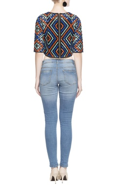 Multicolored grid pattern crop top