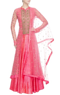 Coral pink embellished kurta lehenga set