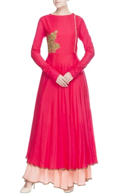 Red anarkali & peach skirt