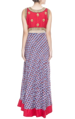 Red & blue printed anarkali