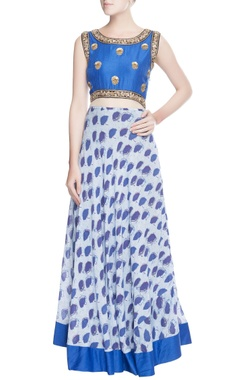Blue embellished & printed anarkali