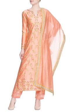 Peach floral print kurta set