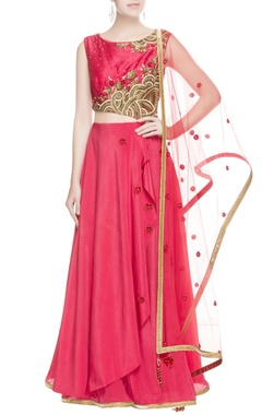 Coral red embroidered anarkali