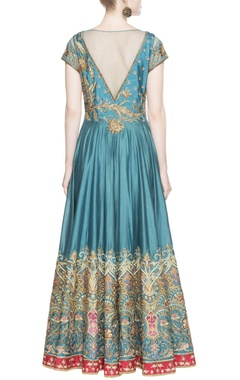 Blue ruched style anarkali