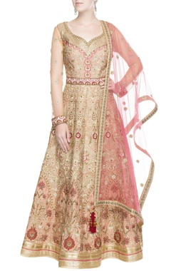 Peach & gold embroidered anarkali