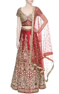 Red sequin embellished lehenga