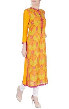 Orange mughal jaal work tunic