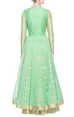 Turquoise green floral print lehenga