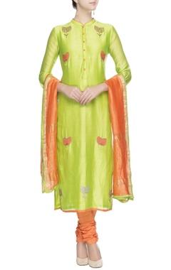 Green and orange floral motif kurta set