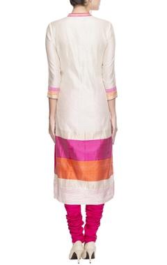 Ivory and pink floral motif kurta set