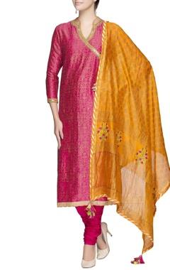 Rani pink angrakha kurta set