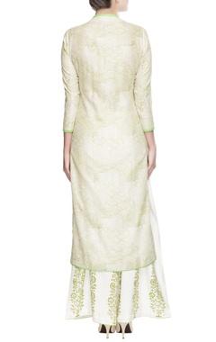 Offwhite kurta set with green print