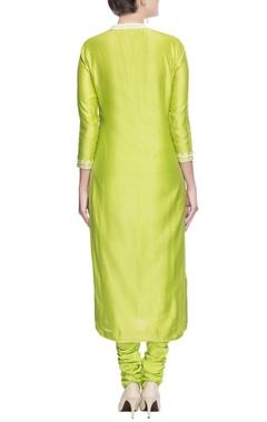 Green paisley embroidered kurta set