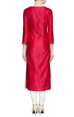 Red embroidered kurta