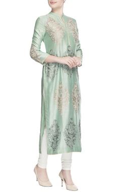 Sage green embroidered kurta