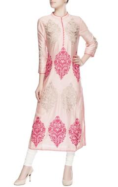 Pastel pink embroidered kurta