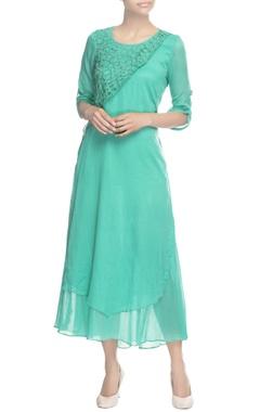 Leaf green multiple layer tunic dress
