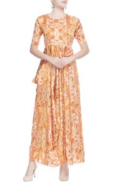 Orange gathered side maxi dress