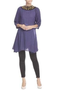 Purple embellished collar tunic